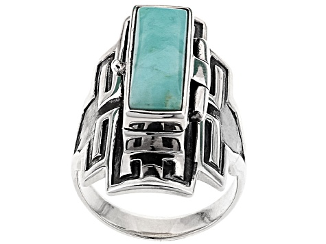 Pre-Owned Alicia Turquoise Sterling Silver Message Box Ring