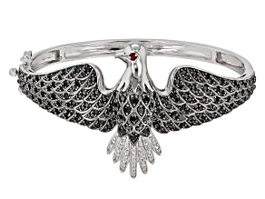 Pre-Owned Black Spinel Sterling Silver Eagle Bangle Bracelet 3.75ctw.