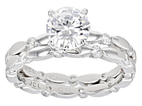 Pre-Owned White Cubic Zirconia Rhodium Over Sterling Silver Ring With Band 3.49ctw