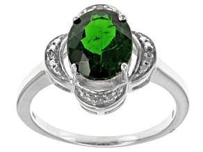 Pre-Owned Green Russian Chrome Diopside Sterling Silver Ring 2.66ctw.