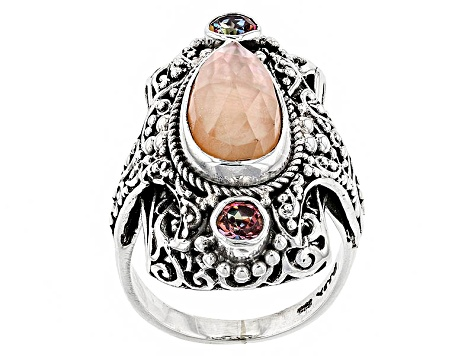 Pre-Owned Morganite Color Mother Of Pearl Triplet Silver Ring .60ctw