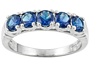 Pre-Owned Blue Cubic Zirconia Silver 5 Stone Ring 2.15ctw
