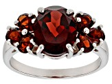 Pre-Owned Red garnet sterling silver ring 3.60ctw