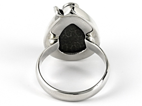 Pre-Owned Black Fossilized Coral Sterling Silver Ring. .10ct