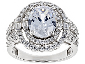 Pre-Owned white cubic zirconia rhodium over sterling silver ring 6.24ctw