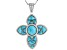Pre-Owned Blue turquoise rhodium over sterling silver cross pendant with chain