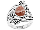 Pre-Owned Pear Shape Cabochon Rhodochrosite Sterling Silver Ring
