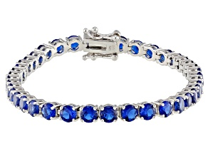 Pre-Owned Lab Created Blue Spinel Rhodium Over Sterling Silver Bracelet 9.18ctw