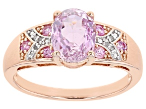 Pre-Owned Pink kunzite 18k rose gold over sterling silver ring 2.42ctw