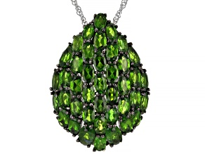 Pre-Owned Green Russian Chrome Diopside Sterling Silver Pendant With Chain 9.46ctw.