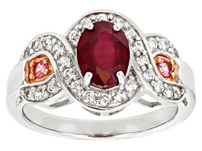 Pre-Owned Red Ruby Sterling Silver Ring 2.26ctw