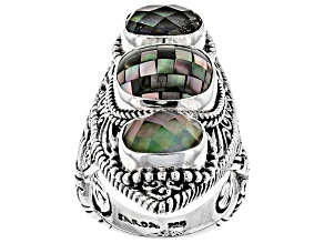 Pre-Owned Multicolor Black Lip Mother of Pearl Silver Ring