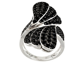 Pre-Owned Black Spinel Sterling Silver Bypass Ring 3.28ctw