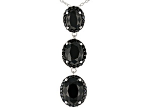 Pre-Owned Black Spinel Rhodium Over Sterling Silver 3-Stone Pendant With Chain 6.90ctw