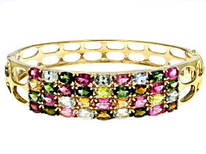 Pre-Owned Multi-color tourmaline 18k yellow gold over silver bangle bracelet 13.77