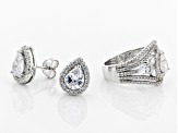 Pre-Owned White Cubic Zirconia Rhodium Over Sterling Silver Center Design Ring & Earrings Set