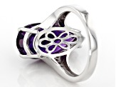 Pre-Owned Purple amethyst rhodium over silver ring 8.71ctw