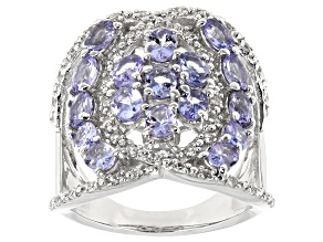 Pre-Owned Blue Tanzanite Rhodium Over Sterling Silver Ring 3.00ctw