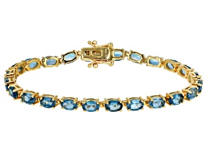 Pre-Owned Blue topaz 18k yellow gold over sterling silver line bracelet 10.81ctw