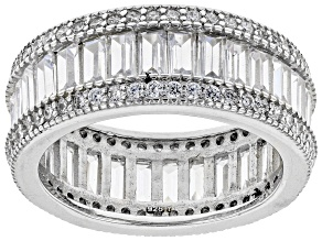 Pre-Owned White Cubic Zirconia Rhodium Over Sterling Silver Ring 7.85ctw
