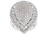 Pre-Owned white cubic zirconia rhodium over sterling silver ring 6.01ctw