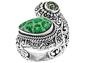 Pre-Owned Kelly Green Indonesian Coral Silver Ring 0.49ctw