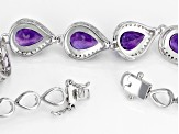Pre-Owned Purple amethyst rhodium over sterling silver bracelet 13.39ctw