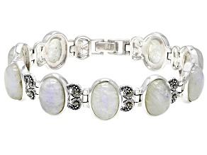 Pre-Owned White rainbow moonstone sterling silver bracelet