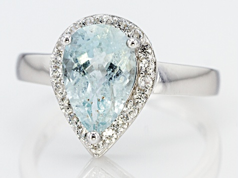 Pre-Owned Blue Brazilian Aquamarine Rhodium Over Sterling Silver Ring 2.01ctw