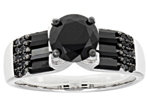 Pre-Owned Black Spinel Rhodium Over Sterling Silver Ring 2.37ctw
