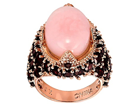 Pre-Owned Copper Peruvian Pink Opal Ring 7.19ctw