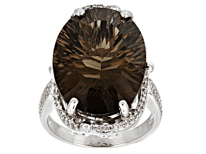 Pre-Owned Brown Smoky Quartz Sterling Silver Ring 14.45ctw
