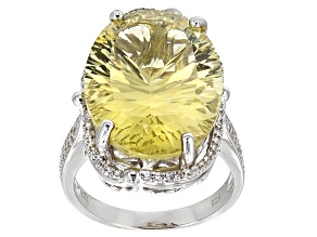 Pre-Owned Canary Yellow Quartz Sterling Silver Ring 14.45ctw