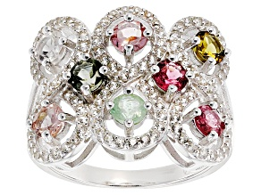 Pre-Owned Multi-Tourmaline Sterling Silver Ring 2.15ctw