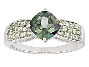 Pre-Owned Emerald Envy™ Mystic Topaz® Rhodium Over Silver Ring 1.95ctw