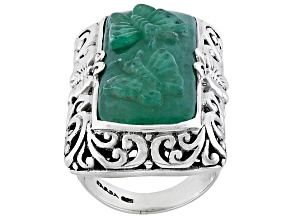 Pre-Owned Green Aventurine Quartz Butterfly Silver Ring