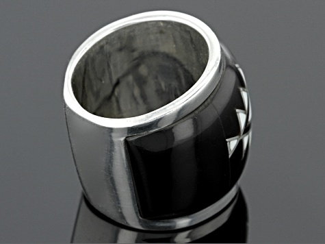 Pre-Owned Black Pen Shell Sterling Silver Band Ring
