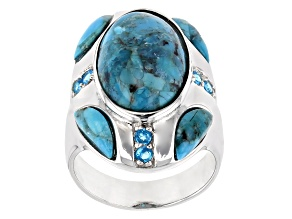 Pre-Owned Blue turquoise rhodium over sterling silver ring .27ctw