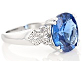 Pre-Owned Blue Lab Created Spinel Sterling Silver Ring 4.34ctw