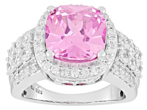 Pre-Owned Pink And White Cubic Zirconia Silver Ring 10.15ctw (5.19ctw DEW)