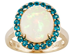 Pre-Owned Multi Color Ethiopian Opal 14k Yellow Gold Ring 3.53ctw.