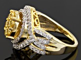 Pre-Owned Yellow And White Cubic Zirconia 18k Yellow Gold Over Silver Ring 2.76ctw (1.35ctw DEW)