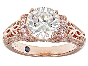 Pre-Owned Pink And White Cubic Zirconia 18k Rose Gold Over Silver Ring 3.53ctw