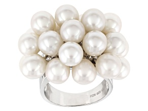Pre-Owned Cultured Freshwater Pearl Rhodium Over Silver Ring 6-7mm