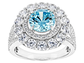 Pre-Owned Blue And White Cubic Zirconia Rhodium Over Sterling Silver Ring 6.28ctw