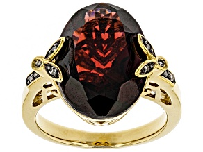 Pre-Owned Red Garnet 18k Gold Over Sterling Silver Ring 8.54ctw