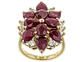 Pre-Owned Red ruby 18k gold over silver ring 9.58ctw
