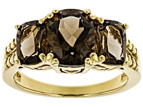 Pre-Owned Brown smoky quartz 18k yellow gold over silver 3-stone ring 2.93ctw