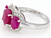 Pre-Owned Red Kenya Ruby Rhodium Over Silver Ring 4.27ctw