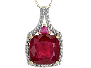 Pre-Owned Mahaleo Ruby 10k Yellow Gold Pendant With Chain 8.72ctw